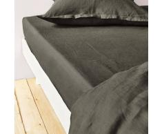 La Redoute Interieurs Sábana bajera 100% lino lavado verde