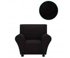 vidaXL funda elástica para sofá de tela jersey poliéster color negro