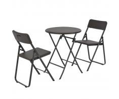 vidaXL Mesa y sillas jardín plegables 3 pzas HDPE aspecto ratán marrón