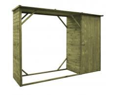 vidaXL Caseta leña y herramientas jardín FSC madera pino 253x80x170 cm