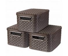 Curver Caja de almacenaje con tapa Style 3 uds S marrón 33617-210-00