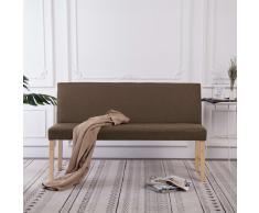 vidaXL Banco de poliéster 139,5 cm marrón