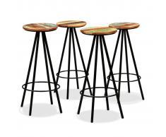 vidaXL Taburetes de bar 4 uds madera maciza reciclada y acero