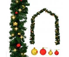 vidaXL Guirnalda de Navidad decorada con bolas y luces LED 10 m