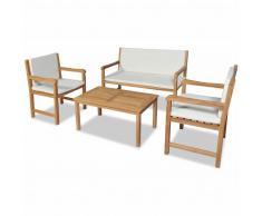 vidaXL Juego muebles de jardín 4 piezas y cojines madera teca maciza