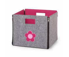 CHILDWOOD Caja de almacenaje plegable flor gris y fucsia CCFSBFF