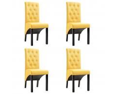 vidaXL Sillas de comedor 4 unidades de tela amarillas