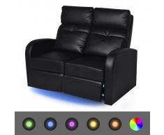 vidaXL Sofá reclinable LED 2 plazas de cuero artificial negro