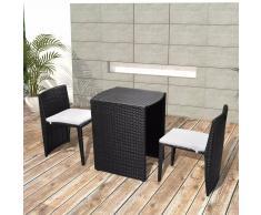 vidaXL Mesa y sillas bistró jardín 3 pzas y cojines poli ratán negro