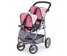 Bayer Cochecito de muñecas Twins gris y rosa 26508AA