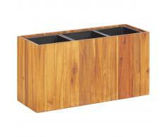 vidaXL Jardinera con 3 maceteros madera maciza de acacia