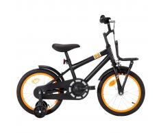 """vidaXL Bicicleta niños y portaequipajes delantero 16"""" negro y naranja"""