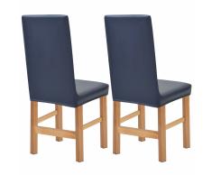 vidaXL Funda elástica para silla 2 unidades de ante azul marino