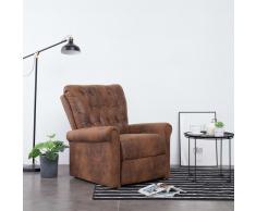 vidaXL Sillón reclinable de piel de ante artificial marrón