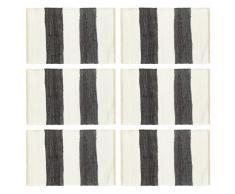 vidaXL Manteles individuales 6 uds Chindi a rayas gris blanco 30x45 cm