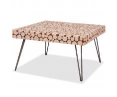 vidaXL Mesa auxiliar de madera de abeto genuina 60,8x60,8x34,5 cm