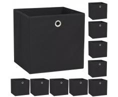 vidaXL Cajas de almacenaje 10 uds textil no tejido 32x32x32 cm negro