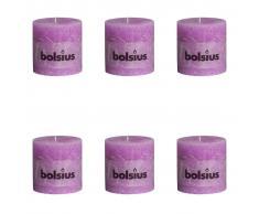 Bolsius Velas rústicas 100x100 mm 6 unidades violeta