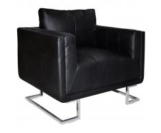 vidaXL Sillón forma de cubo con patas cromadas cuero artificial negro