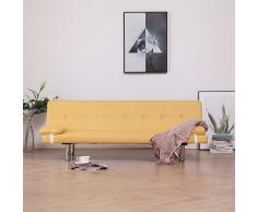 vidaXL Sofá cama con dos almohadas de poliéster amarillo