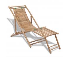 vidaXL Tumbona de bambú con reposapiés