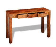 vidaXL Mesa consola con 3 cajones madera maciza sheesham 80 cm