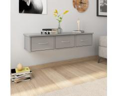 vidaXL Estante con cajones pared aglomerado gris brillo 90x26x18,5cm