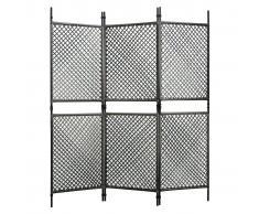 vidaXL Biombo de 3 paneles ratán sintético gris antracita 180x200 cm