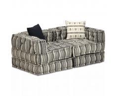 vidaXL Sofá cama modular de 2 plazas de tela a rayas