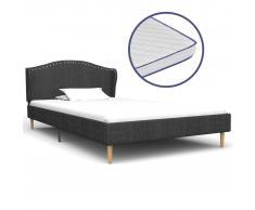 vidaXL Cama con colchón viscoelástico tela gris oscuro 90x200 cm