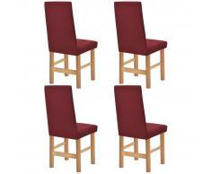 vidaXL Funda elástica para silla burdeos piqué 4 unidades