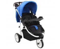 vidaXL Cochecito/Silla de paseo de 3 ruedas azul y negro