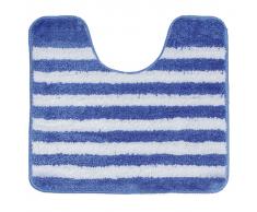 Sealskin Alfombra de baño alrededor inodoro azul a rayas 45 x 50 cm