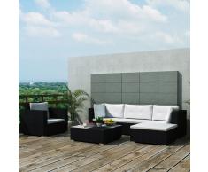 vidaXL juego de sofá jardín 17 piezas mimbre sintético negro