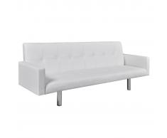 vidaXL Sofá cama de cuero artificial blanco con reposabrazos