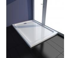 vidaXL Plato de ducha rectangular ABS, color blanco, 70 x 100 cm
