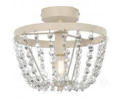 vidaXL Lámpara de techo con cuentas de cristal blanco redonda E14