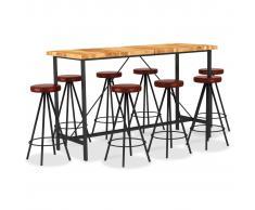 vidaXL Set muebles de bar 9 pzas madera maciza acacia cuero auténtico