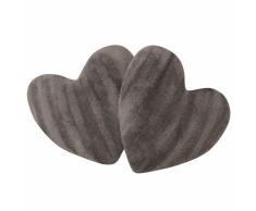 vidaXL Cojines en forma de corazón 2 unidades pelo sintético gris