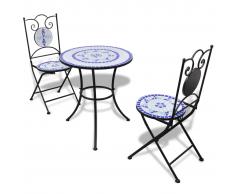 vidaXL Mesa bistro mosaico 60 cm con 2 sillas azul y blanco