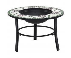vidaXL Brasero de mosaico cerámica verde 68 cm