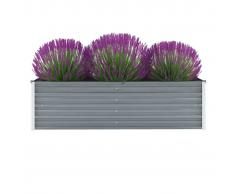 vidaXL Jardinera de jardín de acero galvanizado 160x40x45 cm gris