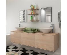 vidaXL set mobiliario de baño con lavabo 8 uds beige (242566+242571)