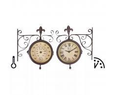 Esschert Design Reloj de estación con termómetro, TF005