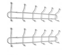 vidaXL Perchero de pared metal con 12 ganchos, 2 unidades