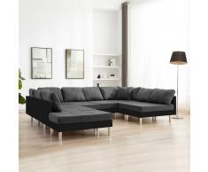 vidaXL Sofá modular de cuero sintético negro