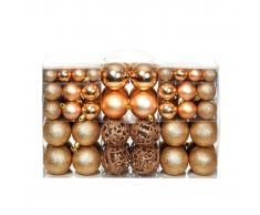 vidaXL Lote de bolas de Navidad 100 unidades rosas/doradas 6 cm