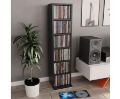 vidaXL Estantería para CDs de aglomerado negro 21x16x88 cm