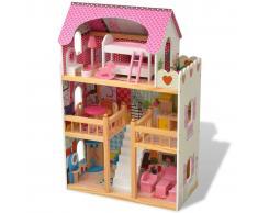 vidaXL Casa de muñecas de 3 pisos 60x30x90 cm madera