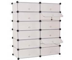 vidaXL Zapatero apilable con 12 compartimentos blanco